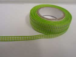 Apple light Green 2 metres or full roll x 5mm Gingham Ribbon Double Sided check UK